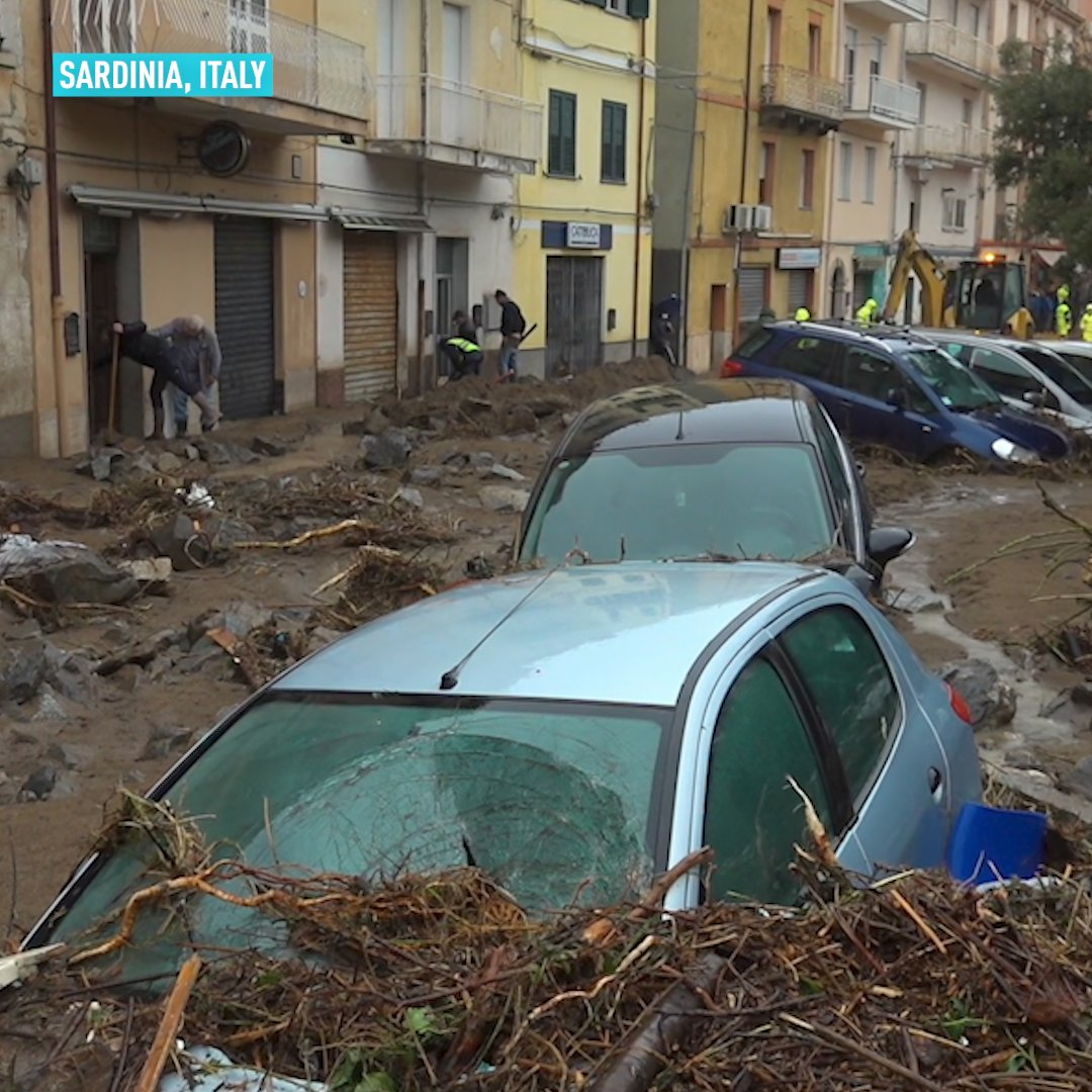 At least three people are dead after severe weather hit the island of Sardinia, causing heavy rain and flash floods. Rescuers are searching two people reported missing.  #sardinia #italy🇮🇹 #flashflood