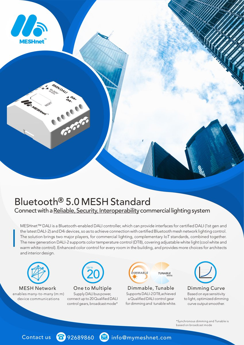 How does the benefits of MESHnet™ DALI in commercial lighting? The answer is here. #MESHnet #Lighting #LED #commercial #smartlighting #Bluetooth #mesh #dali #dali2 #dimmable #dimming #tunablewhite #cctchange