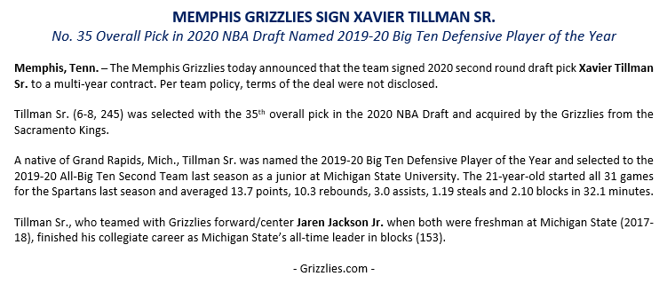 The @memgrizz today announced that the team signed 2020 second round draft pick @Rookiedunker. Press release below. https://t.co/XNxYvCJdI1