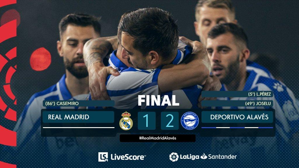 FINAL #RealMadridAlavés 1-2  ⚽💙⚽ ¡Los goles de @LP10oficial y @JoseluMato9 le dan los tres puntos al @Alaves!  #LaLigaSantander  #ResultadosLS