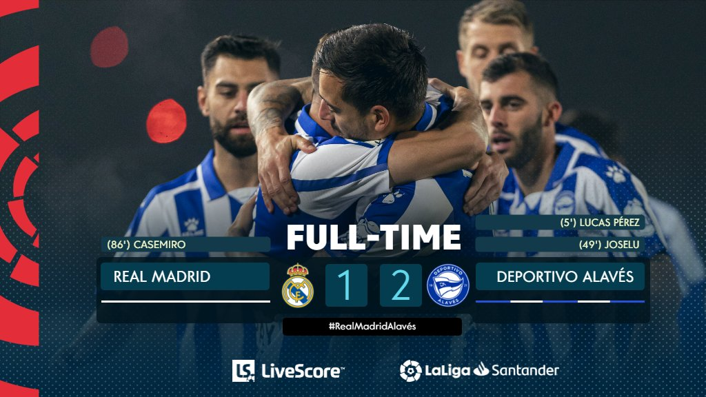 FT #RealMadridAlaves 1‐2  Lucas Perez and Joselu fire @alaveseng to victory! 💙🔥  #LiveResults