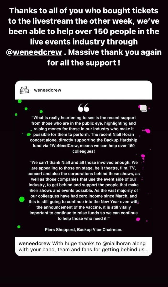 📲 Niall via sa story Insta remercie tous ceux qui ont acheté des tickets pour le #NiallLiveAtAlbertHall. Cela a permis d'aider plus de 150 personnes avec #WeNeedCrew ! 🙏🥳