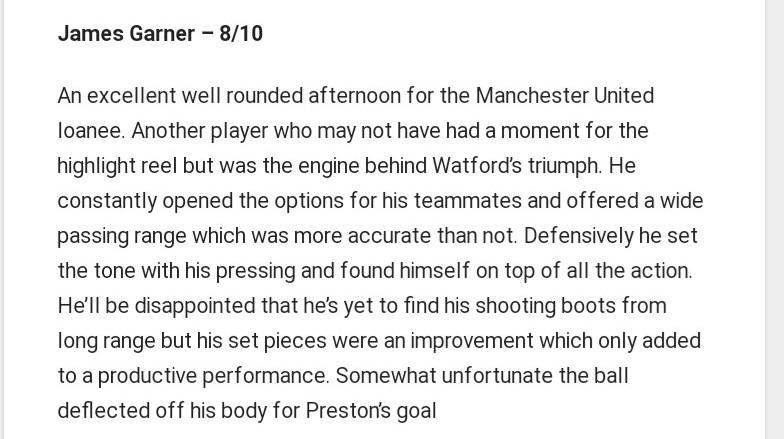 James Garner (Watford vs Prsston).  Wonderful stuff!  #mufc
