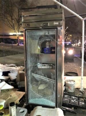 """The BLM-themed outdoor """"kitchen"""" outside the federal courthouse in Portland was robbed & ransacked overnight. The street kitchen feeds protesters, rioters & vagrants."""