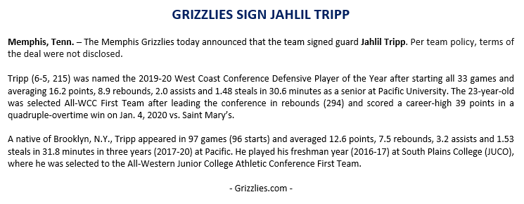 The @memgrizz today announced that the team signed Jahlil Tripp. Press release below. https://t.co/d1Mc1zZmUa