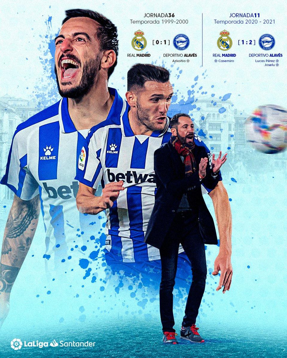 2⃣1⃣ temporadas después, ¡el @Alaves vuelve a vencer en casa del Real Madrid en #LaLigaSantander! 💙⚽  #RealMadridAlavés  #HayQueVivirla