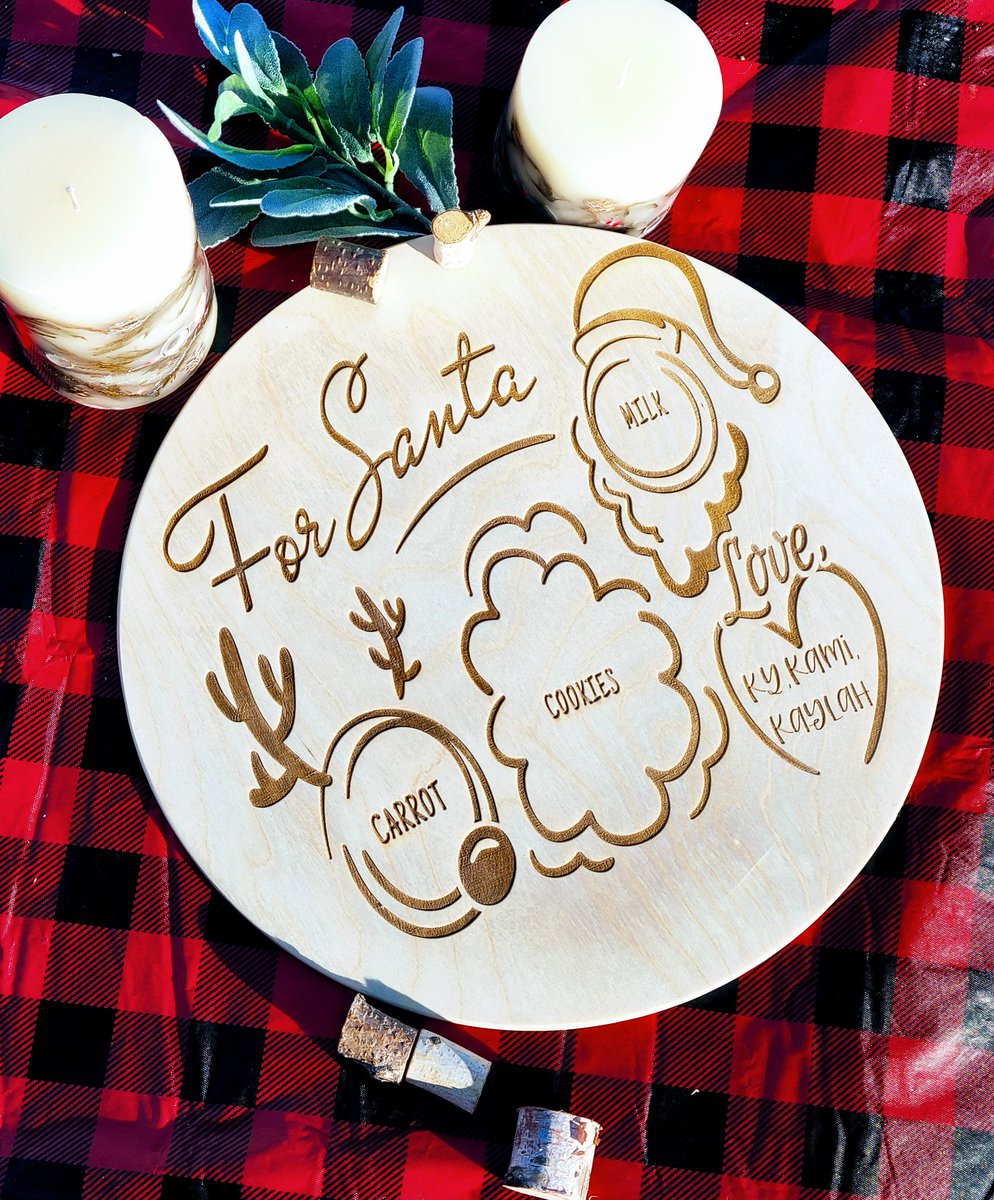 Santa tray come with or with handles  Can get them round or rectangular  #smallbusinesssaturday #Santatray #shoplocal #shopsmallbusiness #custommade #handmade #personalizedtray #personalizedgifts