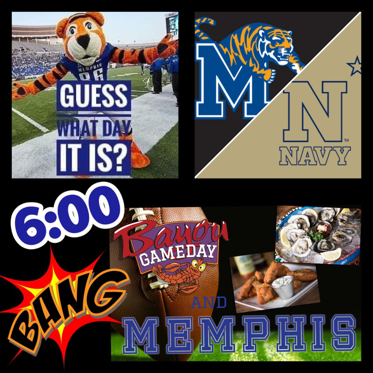 Its always game day at Bayou Bar and Grill! 🏈 Head over to catch the Memphis Tigers vs Navy game today at 6 p.m. 🐯 #GoTigers #ilovememphis