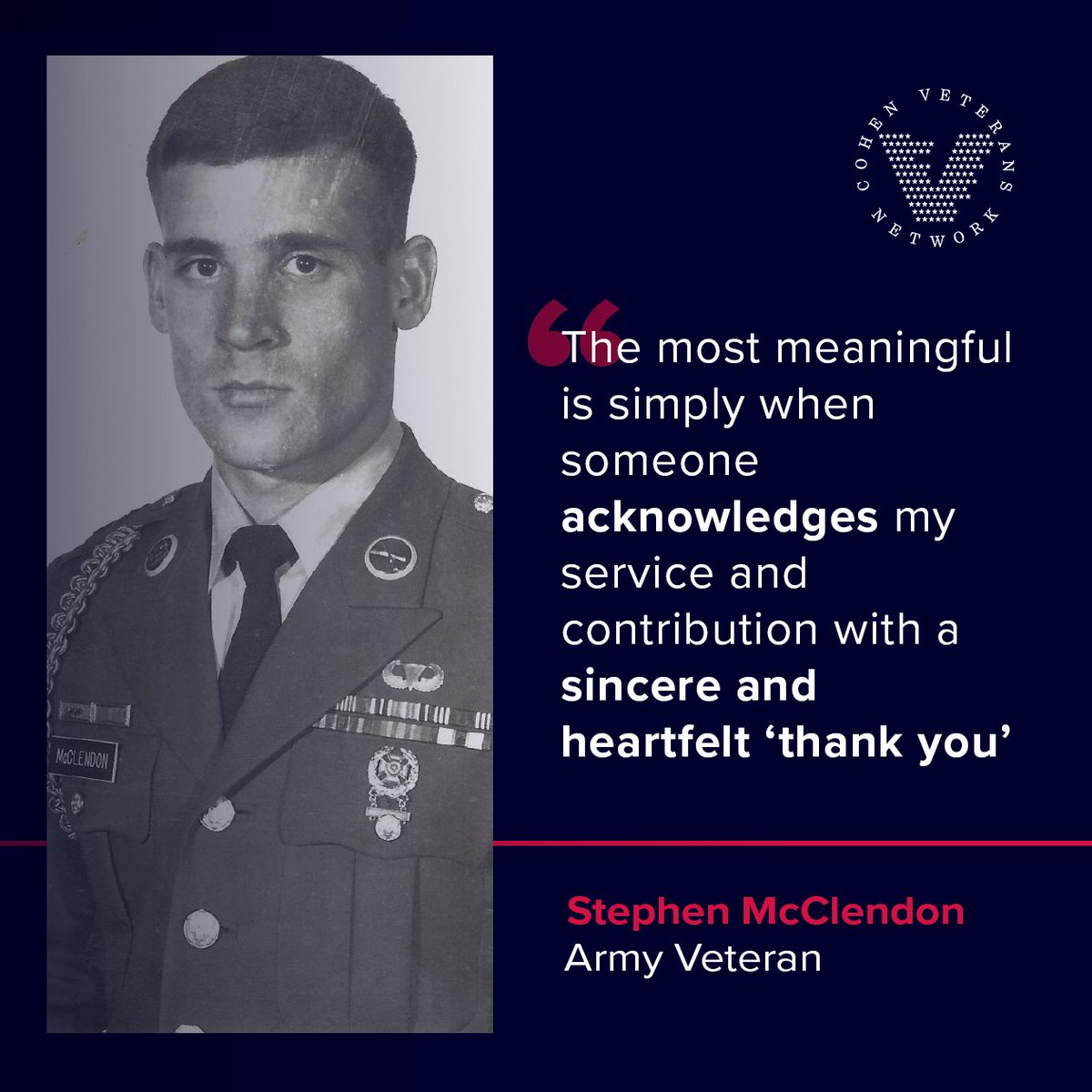 """""""How can you appreciate veterans this #VeteransDay? Stephen, Army veteran and clinician at our Cohen Clinic at Aspire Health Partners explains that for him, a simple  acknowledgement and heartfelt """"thank you"""" can show gratitude.   #BeyondTheThankYou"""""""