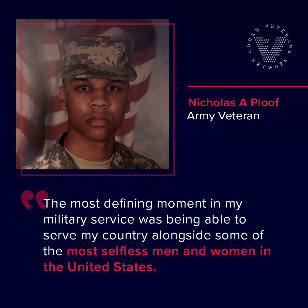 """""""For many veterans, like Nicholas, Army veteran and Data Manager for our Cohen Clinic at Red Rock, the men and women they served alongside are people who have shaped their lives and will never be forgotten.   #VeteranVoices #VeteransDay"""""""