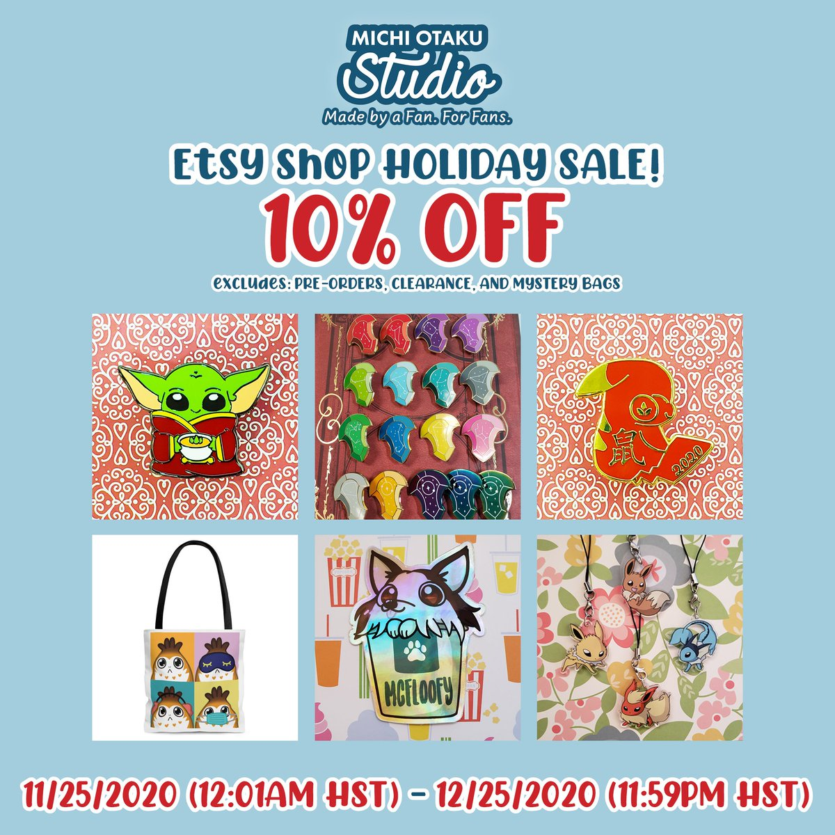 Happy #SmallBusinessSaturday~!  I have an ongoing 10% OFF sale in my #Etsy shop, for select items, as well as a #BlackFriday weekend code, BFOTAKUPIN20, to get 20% OFF on enamel pins listed!  Have a great weekend and stay safe & healthy!  RTs 🔄 appreciated~ 💕