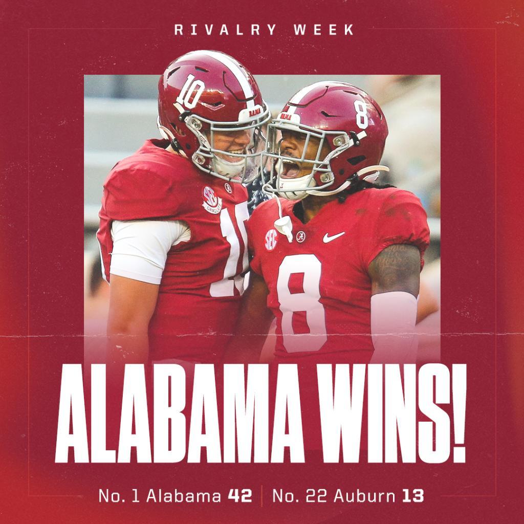 Alabama dominates Auburn in the Iron Bowl 🐘
