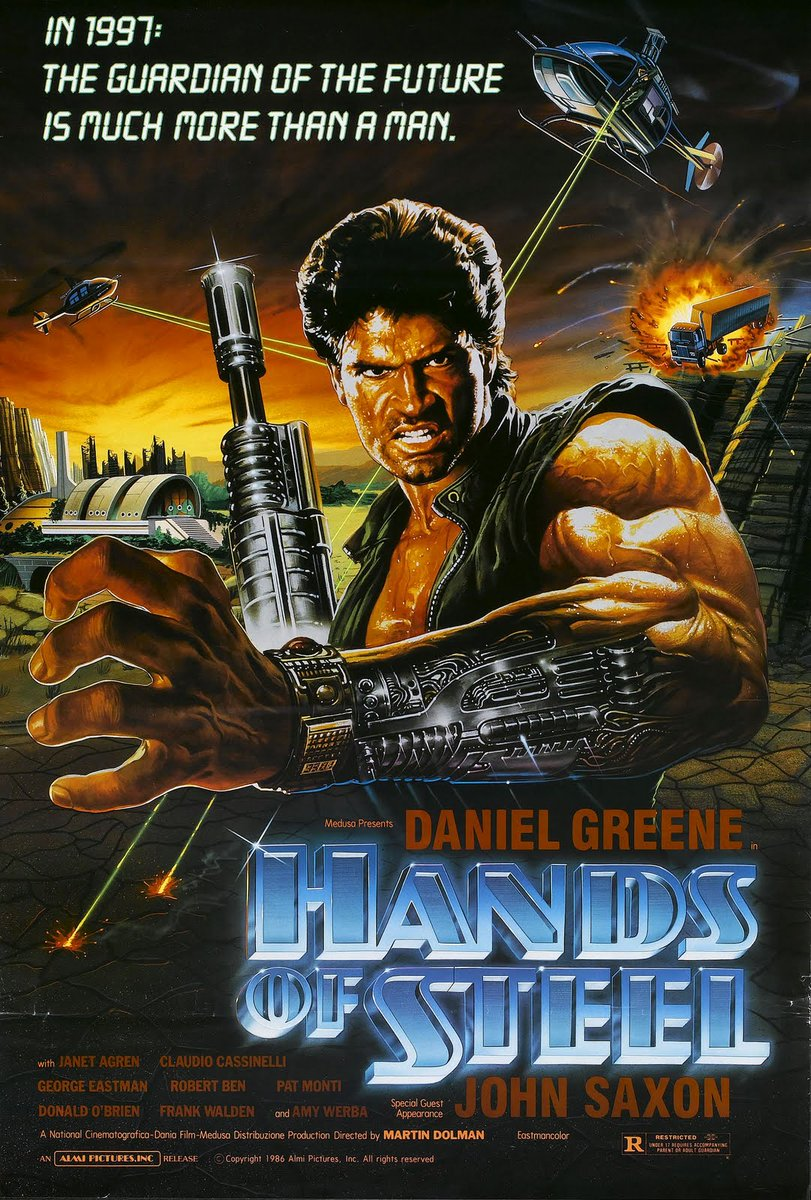 #HandsOfSteel 👍Slower than I remembered, but a fun slice of cheese nonetheless. Easily the best post-apocalyptic cyborg arm wrestling film! Claudio Simonetti's score was the highlight (as repetitive as it got). *Rewatch