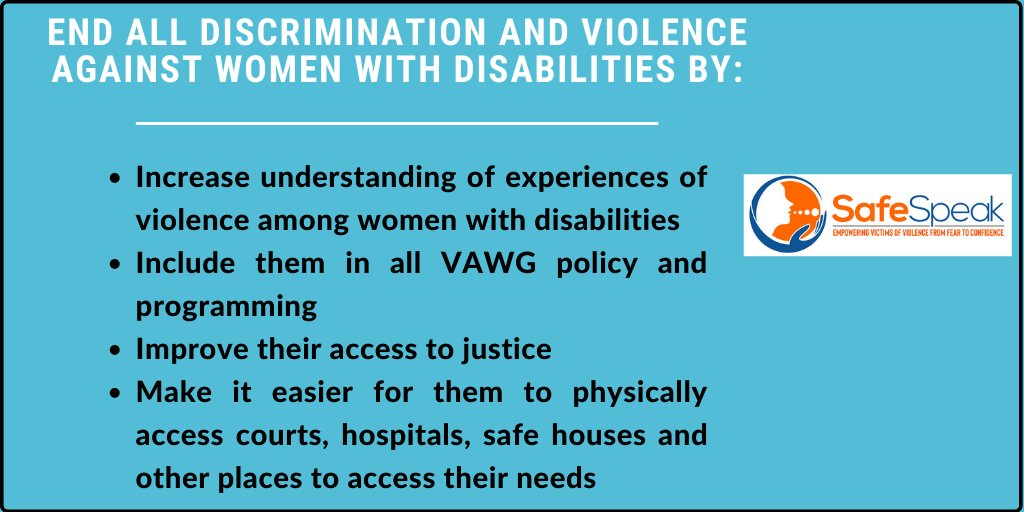 Day 5 #16DaysOfActivism. #NoMoreGBV #16DaysofActivism2020   Women with disabilities are often at a high risk of experiencing gender based violence. We have a responsibility to protect them and end this violence.  Here are some actions to take #16Days #OrangeTheWorld #GBV #EndGBV