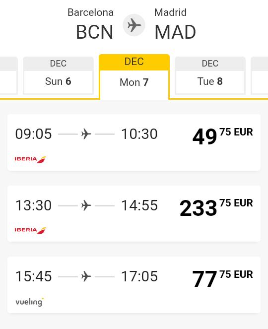 #VuelingAirlines  https://t.co/ELYSWj6UDS  #Barcelona --> #Madrid   07/12/2020   77.75 €  #Espana #Spain #vuelosbaratos #iberia #Valencia #Sevilla #Zaragoza #Malaga #Murcia #Mallorca #LasPalmas #Bilbao #Alicante #Valladolid #Vigo #Gijon #Hospitalet #Coruna #Granada #ibiza #ESPN https://t.co/Y6hoeCtJXN