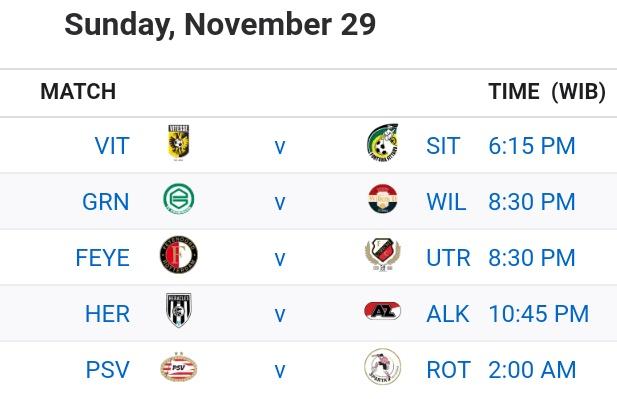 Jadwal #Speelronde 10 #Eredivisie Malam Ini  ~Minggu (29/11) 18.15 WIB Vitesse -  Fortuna (Live Mola TV)  20.30 WIB Groningen - Willem II Feyenoord - Utrecht (Live Mola TV)  22.45 WIB Heracles - AZ  ~Senin (30/11) 02.00 WIB PSV - Sparta (Live Mola TV) https://t.co/BKwjPDXKXP