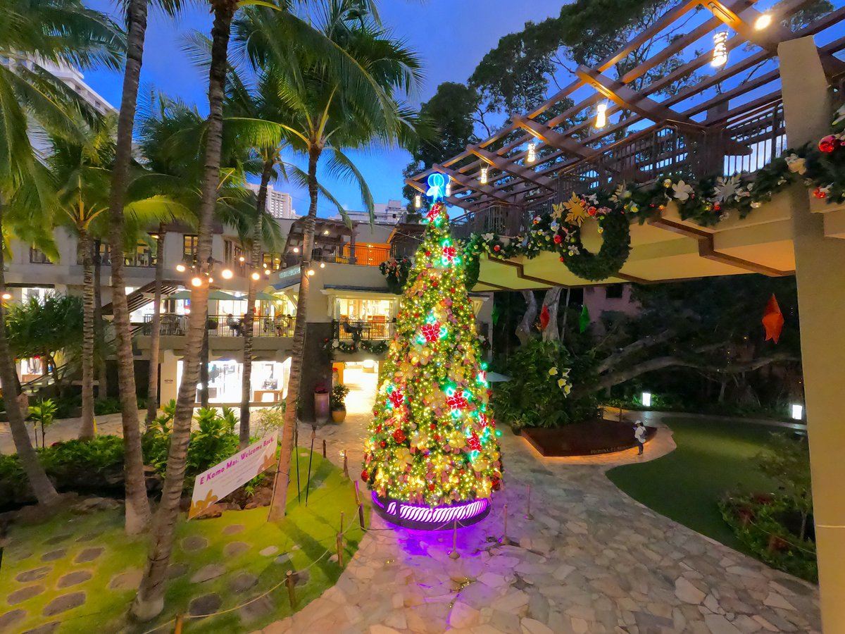 The Royal Hawaiian Center beautiful Hawaiian Christmas tree on Waikiki.~🎄😷🤙📸🌴 #waikiki #christmastreehawaii #hawaii #royalhawaiiancenter #royalhawaiiangrove https://t.co/ClX4tkGwxC