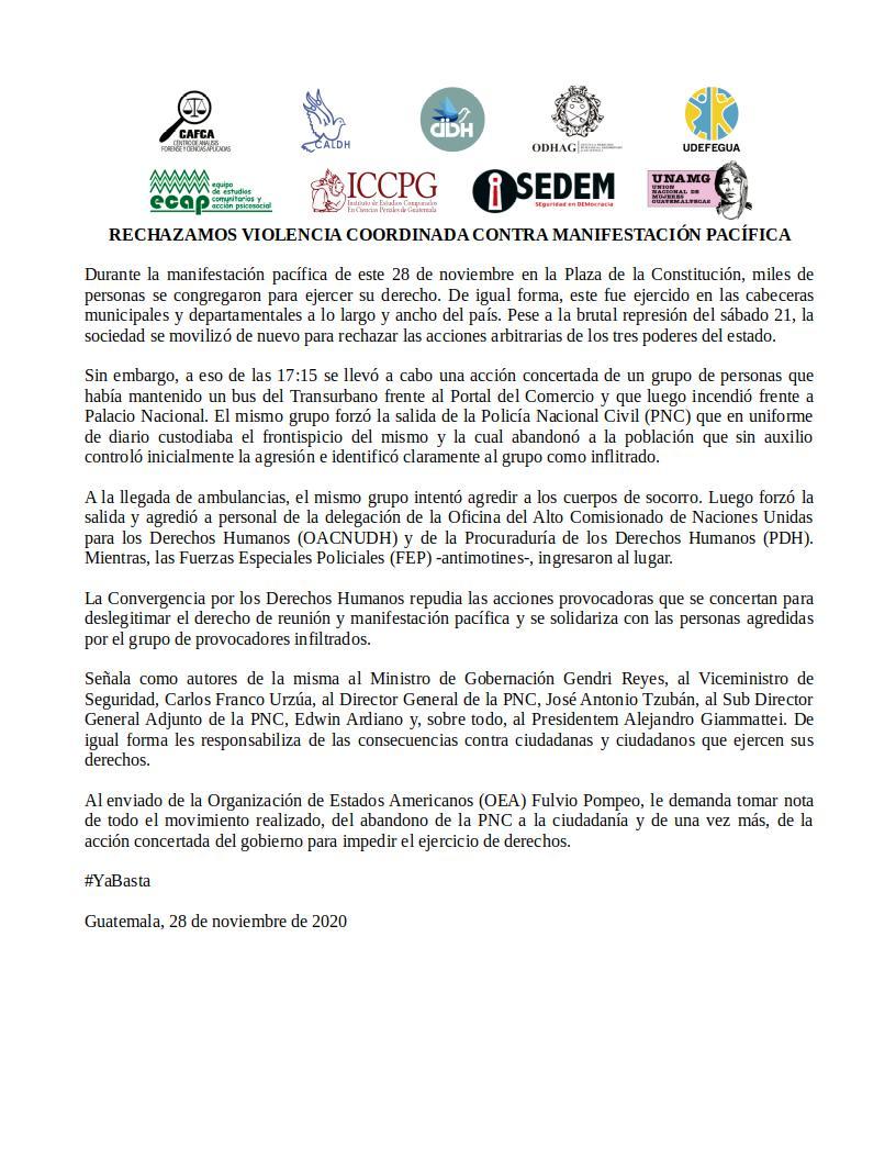 test Twitter Media - #28N Organizaciones rechazan violencia coordinada en contra de manifestación pacífica. https://t.co/Ql3WlonUmF