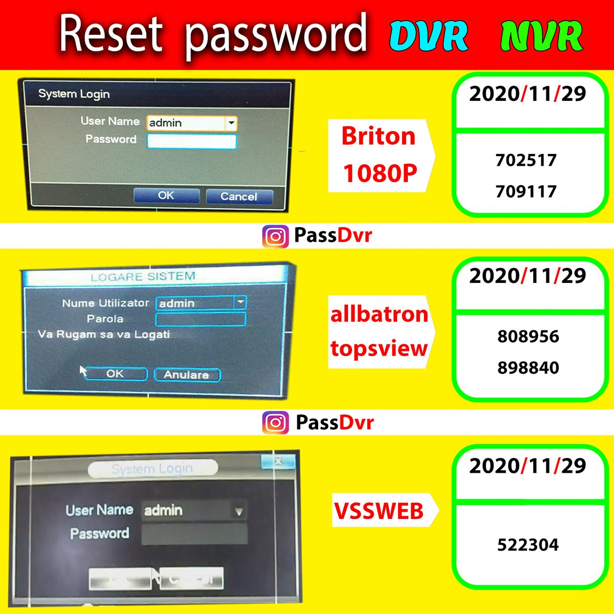 Send me a message to get the password of other dates or other models directly  #dvr #nvr #password #superpassword #reset #reset_password #resetpassword #security #system #security_system #camera #cctv #cctvcamera #cctv_camera #hikvision #dahua #ip #ipcamera #cctvcamera #bms https://t.co/AFrGTrrlY8