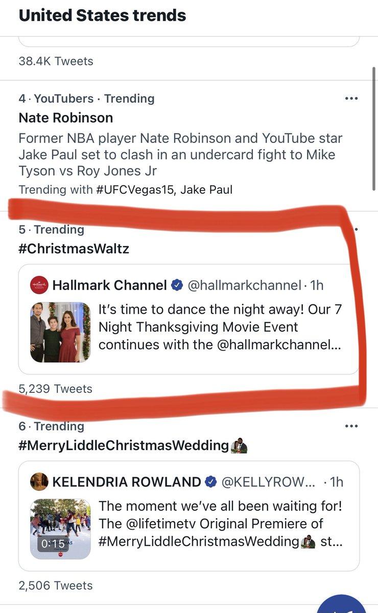 Trending at Number 5 with less than 1 hr to go! Let's do this #Hallmarkies!  #ChristmasWaltz @hallmarkchannel @IamWillKemp @IamLaceyChabert @michaeldamian1 @MichelleVicary