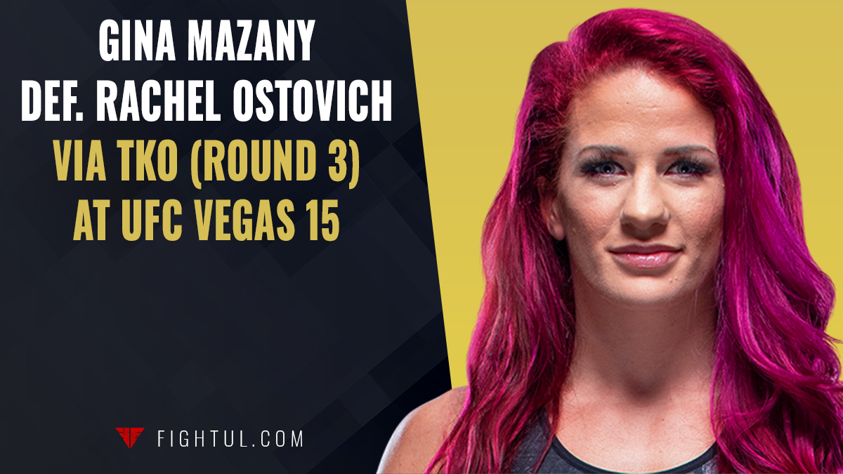 Gina Mazany crushes Rachel Ostovich to the body with front kicks for the third-round TKO at #UFCVegas15 👀 Full results: