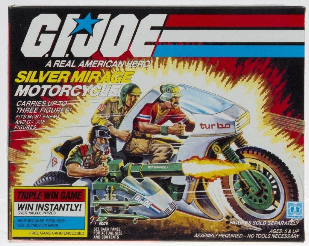 The GI Joe Silver Mirage was the successor to the RAM motorcycle. It first appeared on toy store shelves in 1985.