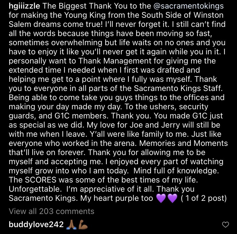 Hard to explain how much I'm a fan of Harry Giles. Harry just understood how much Kings fans love the team, and he loved them back. And when's the last time you saw a departing player thank the arena staff? I'll root for Harry wherever he goes. Always. https://t.co/rRoqsoW79B