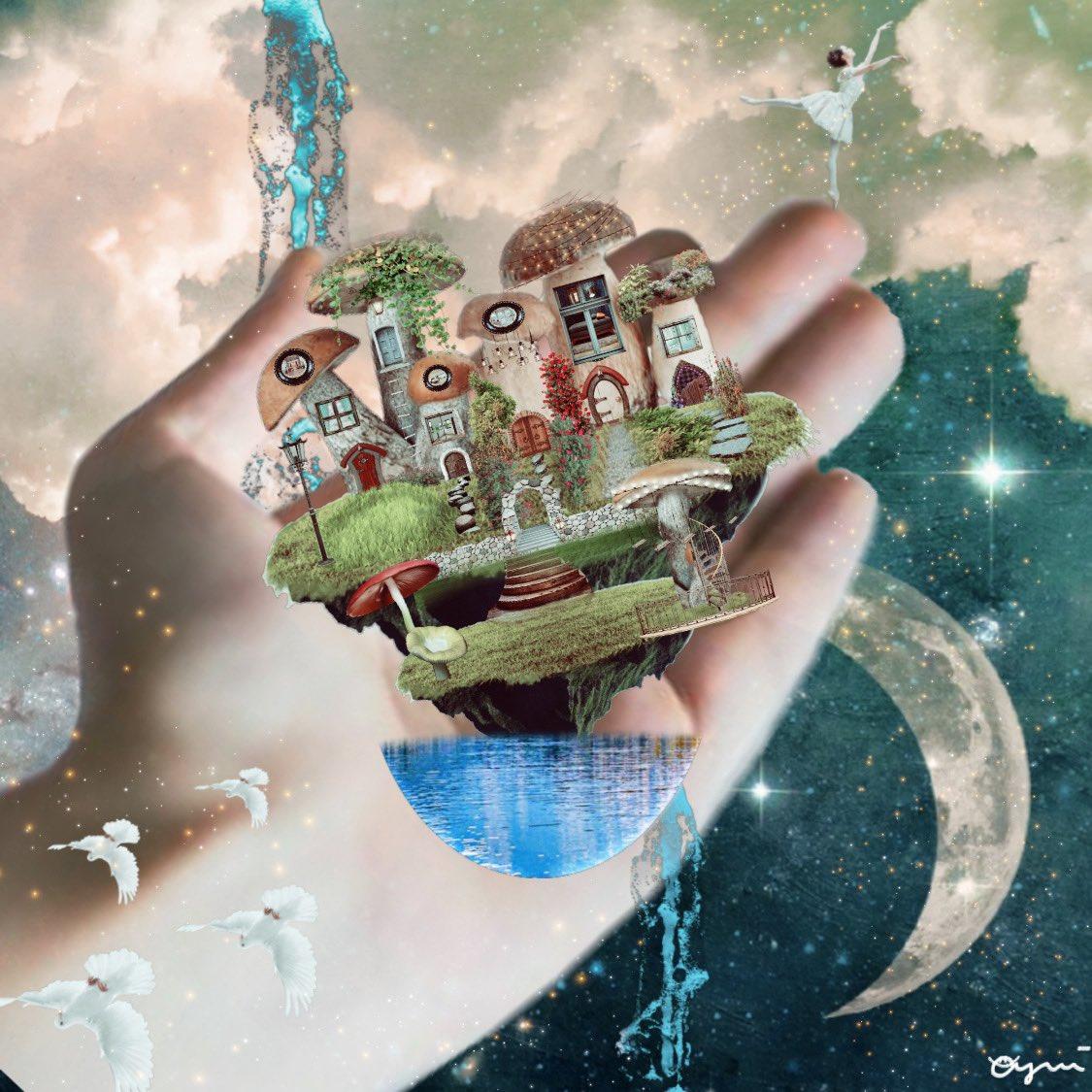 タイトル未定です。 夢の中の様な、ファンタジーの様な。空と大地は反対で、鳥は地面を飛びます。バレリーナは、今を楽しみながら踊ります😌 絵本をイメージして制作致しました🙇♂️ #グラフィック #デザイン #コラージュ #graphic #design #collage #art #夢 #ファンタジー #絵本 #book #異世界 #空 #月 https://t.co/lmeGLInve1