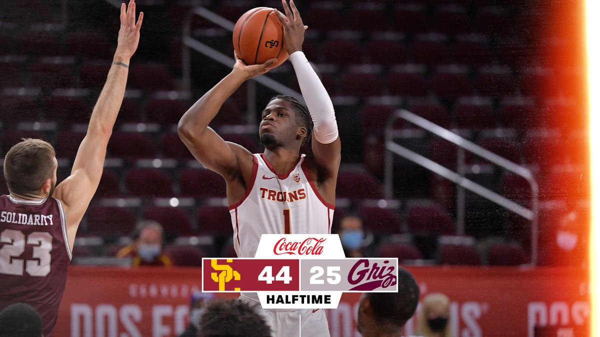 HALFTIME: USC 44, Montana 25  Trojans shoot 71% from the floor to take a big lead into the break. https://t.co/MtTSYwc1vS