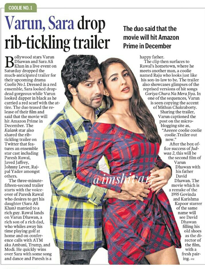 #VarunDhawan - #SaraAliKhan  drop rib-tickling trailer   @Varun_dvn hopes for a Christmas miracle,   #CoolieNo1 means a lot to me because this is my father's  direction. This is his 45th film  #CoolieNo1Trailer #DavidDhawan #CoolieNo1OnPrime @Saratimes95