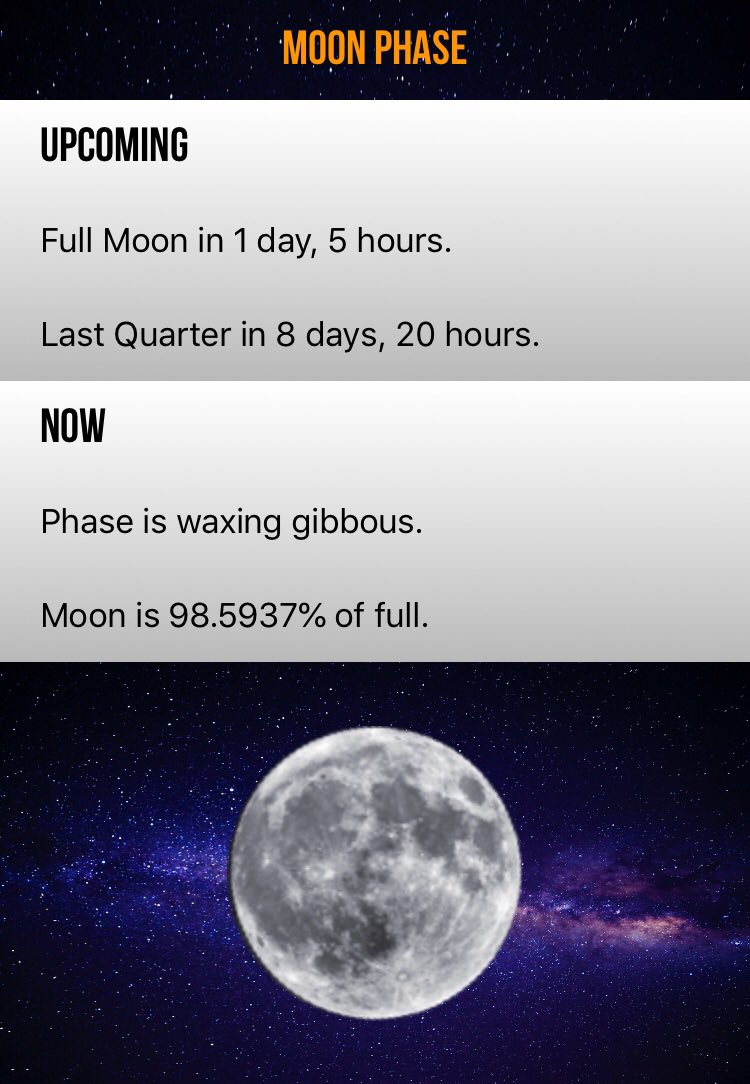 Full Moon in 1 day, 5 hours. https://t.co/khHGMolvC8 #moonplus #fullmoon #moon https://t.co/eTqae34xpM