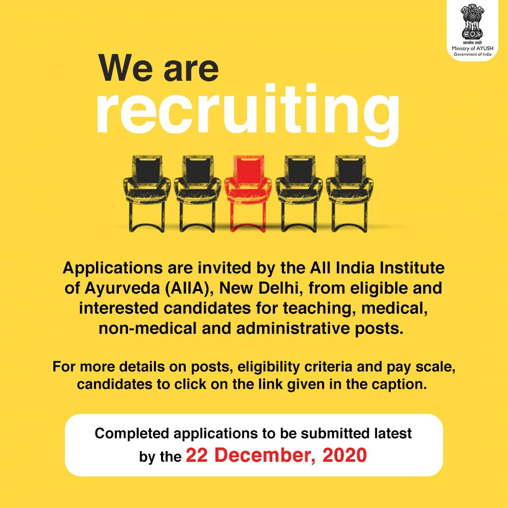 #Applications are invited from qualified and experienced professionals for various #teaching, #medical, non-medical and #administrative posts by the @AIIA_NDelhi , New Delhi, an Autonomous Body under the @moayush.  For details of qualifications, experience, application procedure
