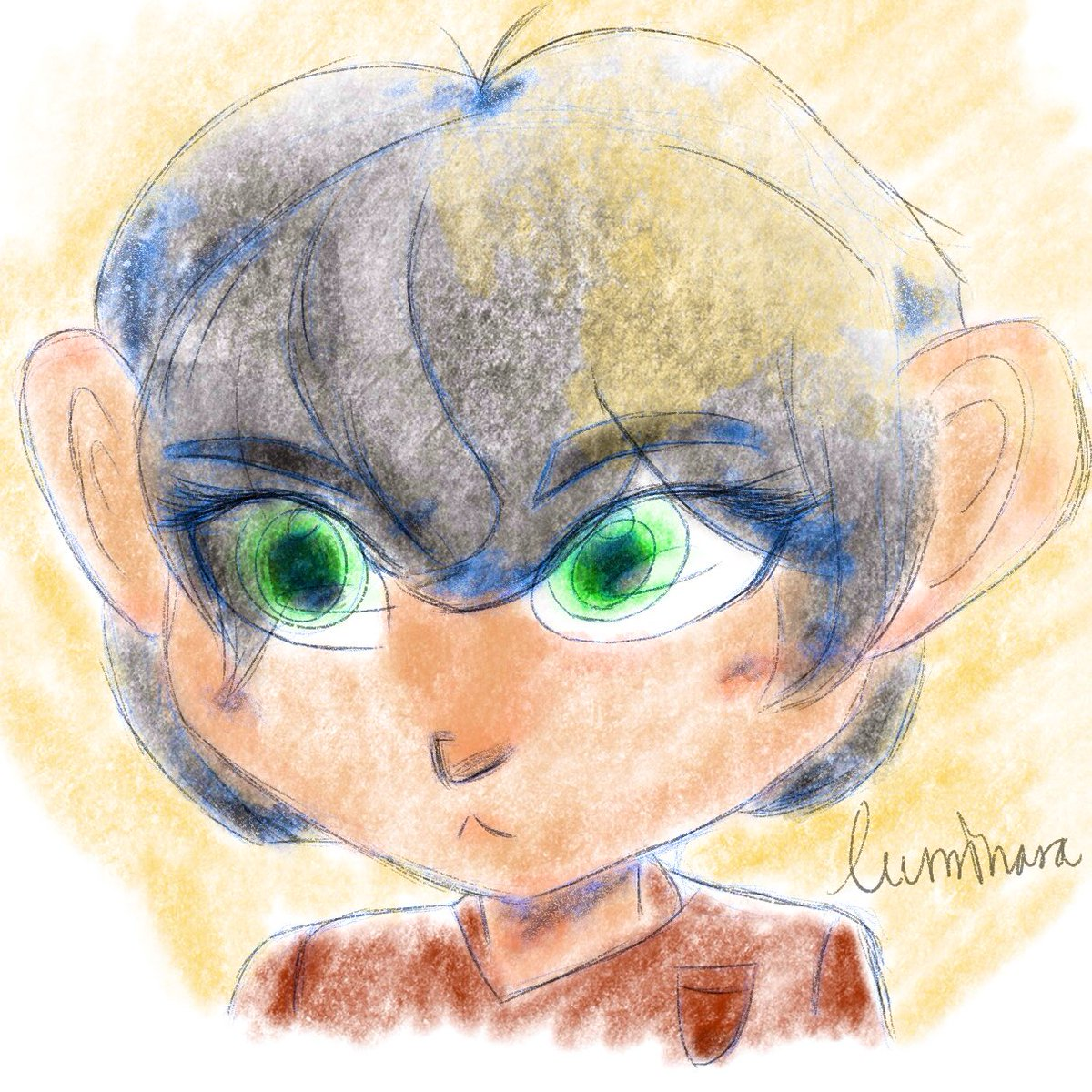 a mini #damianwayne aka a regular damian wayne! dami here is all pencil & charcoal brushes, for a pretty & soft vibe since he tries his hardest to be anything but. i thought it'd be cute! 😌  #dc #comics #robin #batman #fanart #art https://t.co/A4CS5acwxc
