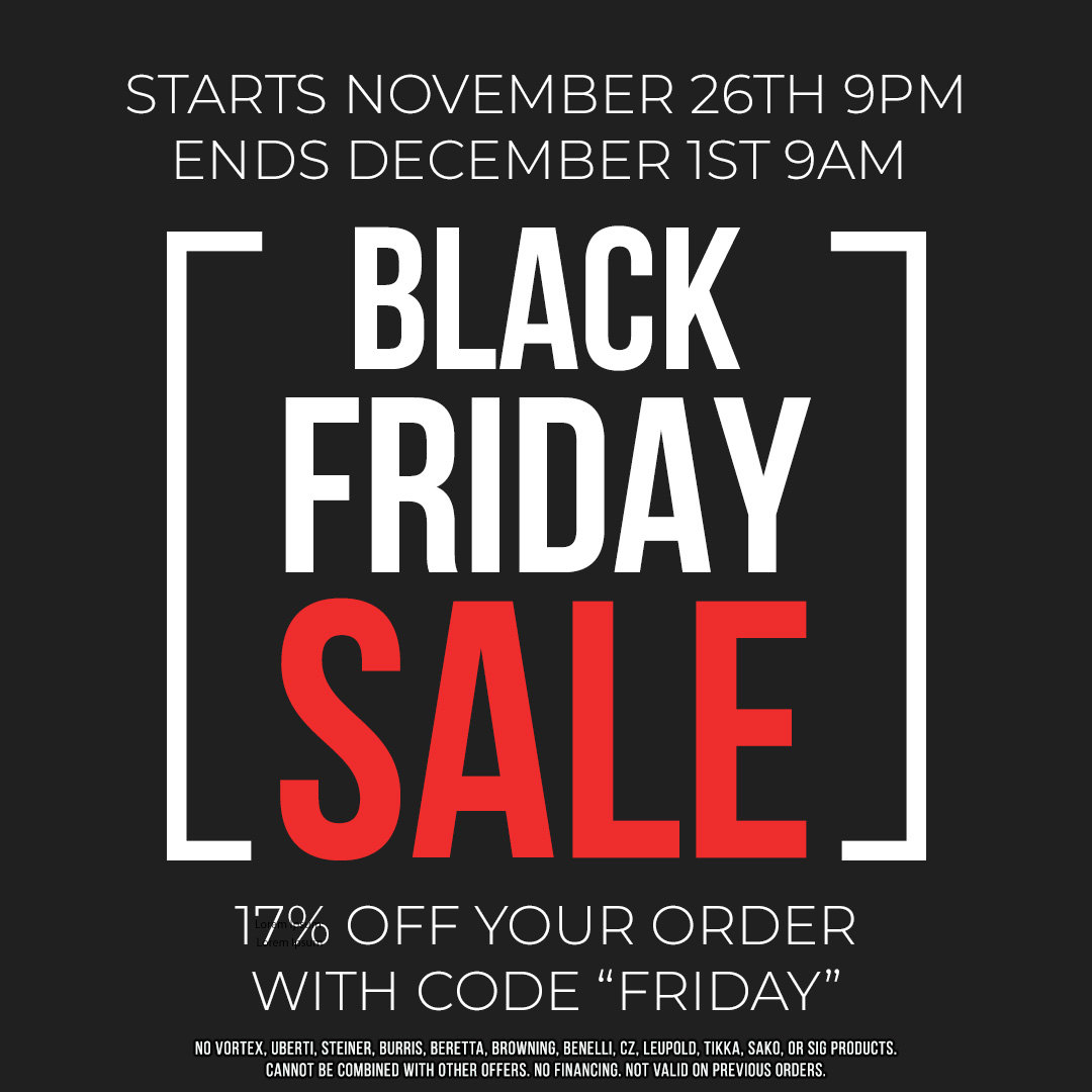 "It's our Black Friday SALE!  Use the discount code ""Friday"" at checkout and save 17% off of your order.   See the banner for details and exclusion. https://t.co/aENYbziKp6 #sale #blackfriday #canada #pewpew #guns #outdoors  #glock @theammosource #sfrc #hunting #fishing #babgbang https://t.co/5IIBed9Wzv"