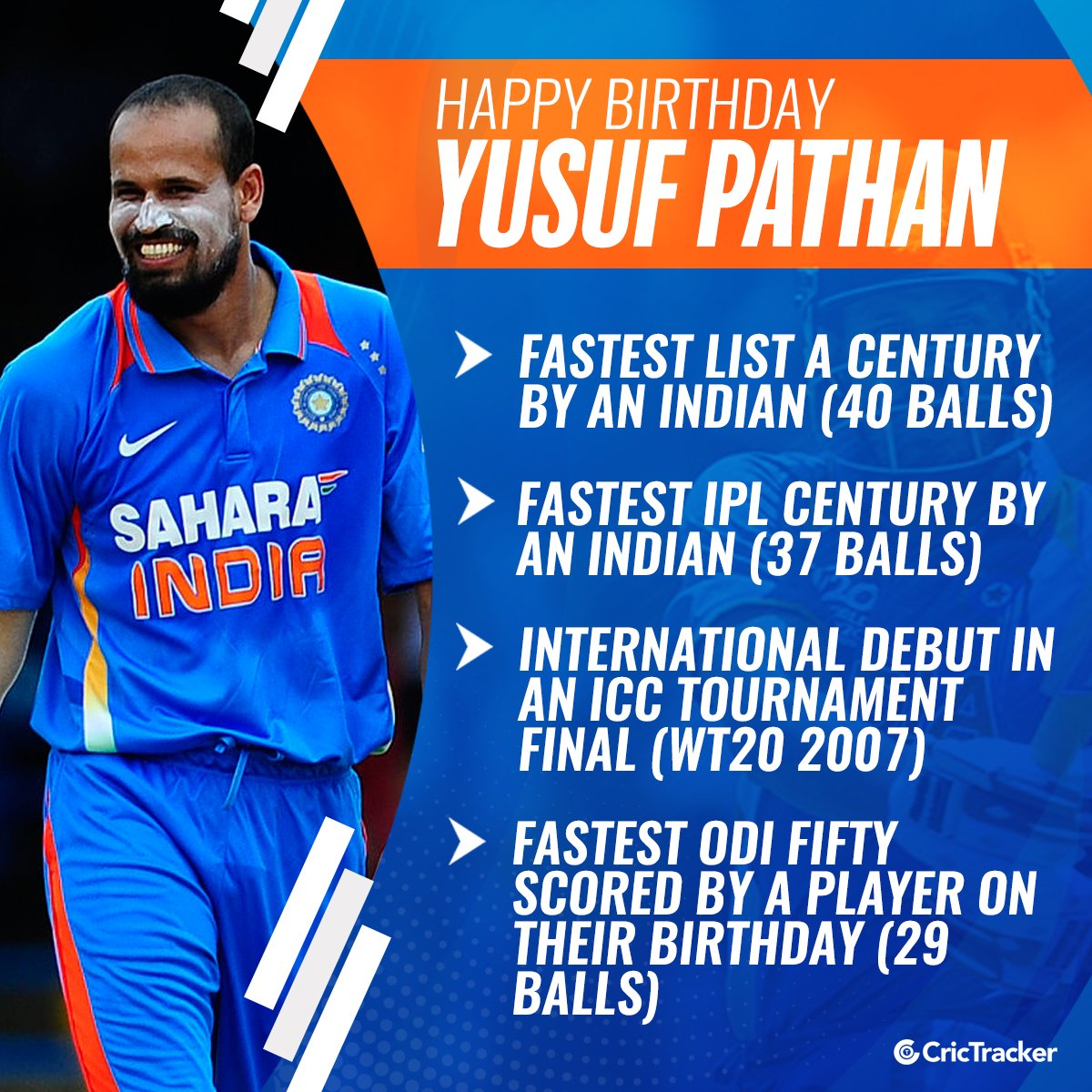 Wishing Indian all-rounder Yusuf Pathan a very happy birthday.  #YusufPathan #India #Cricket #CricTracker