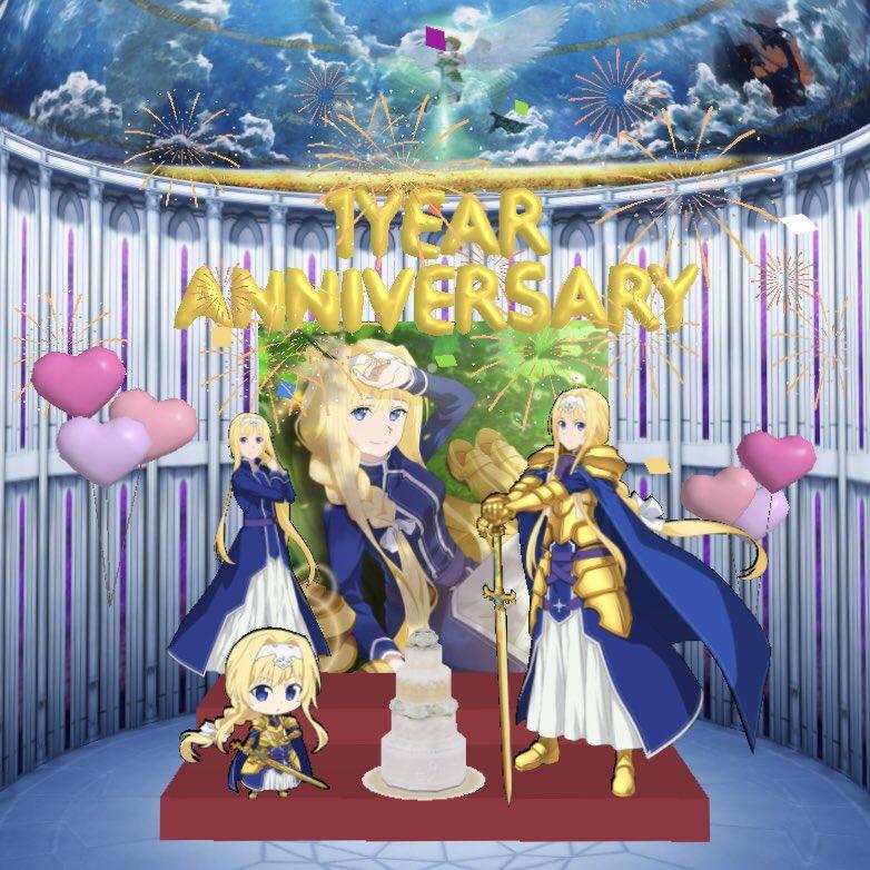 アリブレ1周年を記念して私もアリス祭壇を作ってみました🏵近年稀に見る集中力を発揮して、いかにアリスたんを可愛く配置するか拘りました。いや、どの角度からみてもアリスたんは美しいのですが。みんなもぜひ!#SAOアリブレ祭壇メーカー#SAOアリブレ1周年#sao_anime