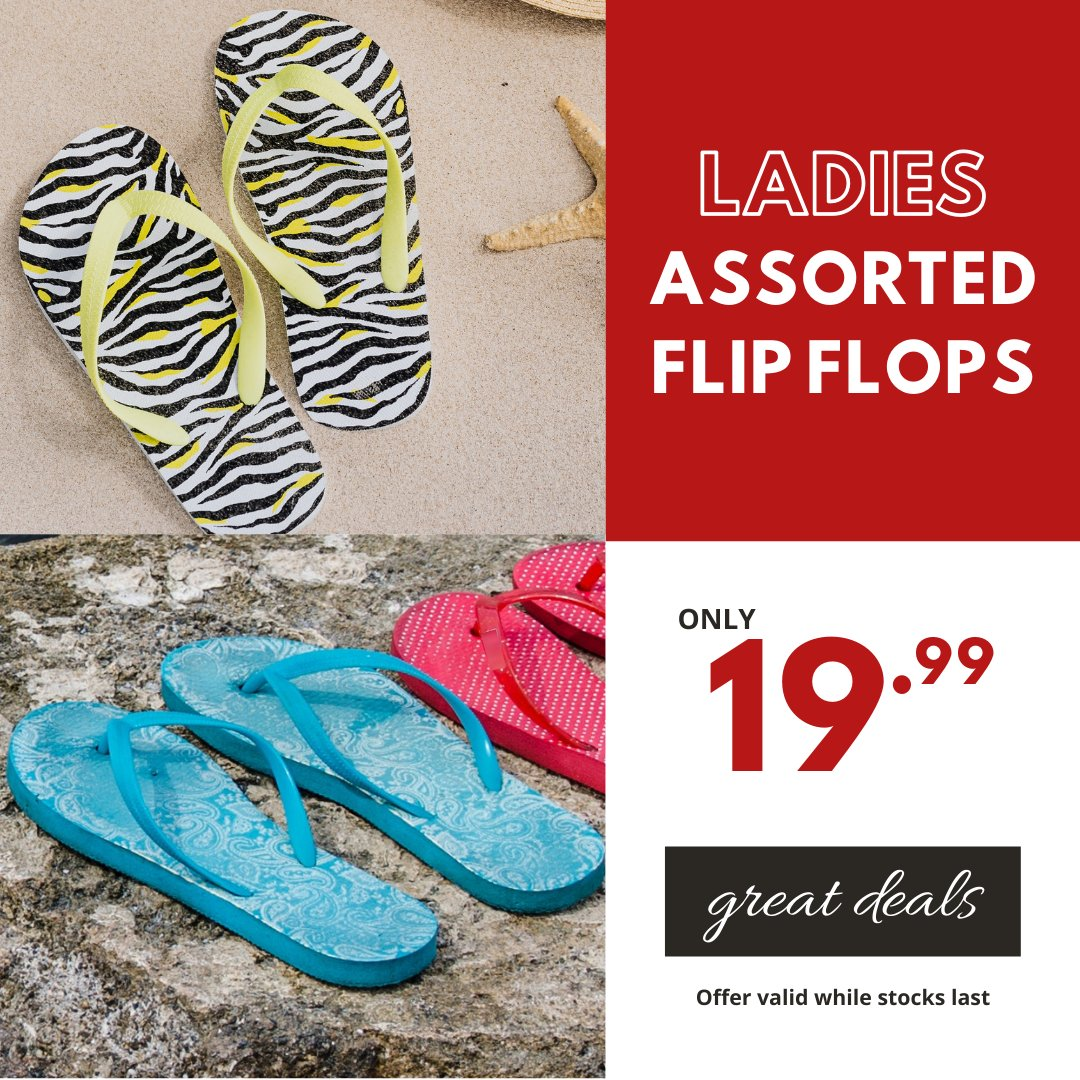 Be summer ready ☀️ with these great deals only at Choice Clothing.  Ladies Assorted Flip Flops only 19.99 #choiceclothing #wearchoice #flipflops #ladiesfootwear