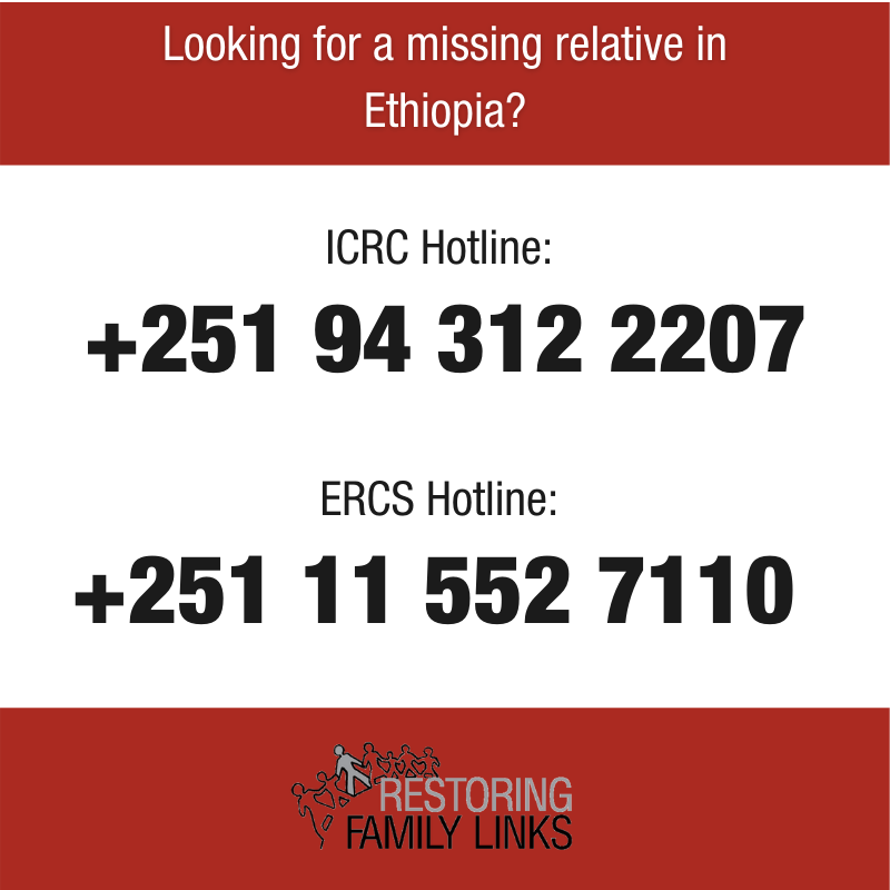 Are you looking for a missing relative in northern #Ethiopia? In response of the military escalation, we have activated a hotline to help you. https://t.co/beSsiO8pLQ