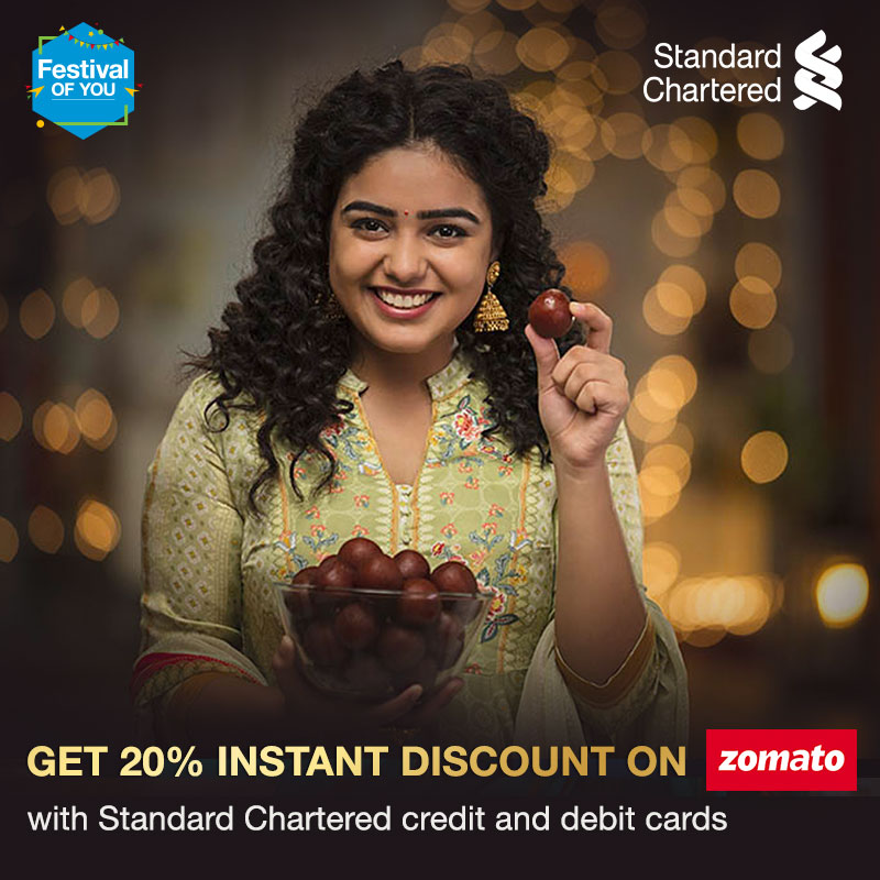 Satisfy all your food cravings this festive season. Get 20% instant discount on Zomato with Standard Chartered credit and debit cards. Offer valid till 22 Nov 2020.   To know more,   #FestivalOfYou #FestiveSeason #StandardChartered