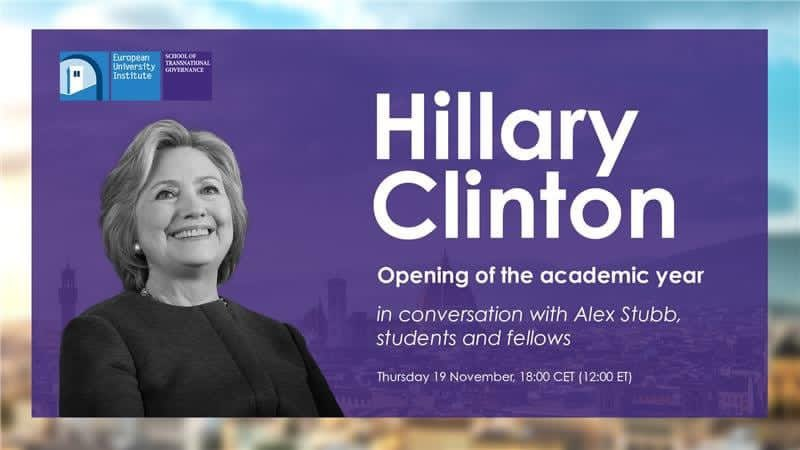 Honoured to announce that @HillaryClinton will officially inaugurate our @STGEUI academic year on Thursday 19 November at 18.00 CET. Please join us for a conversation on world politics, leadership and democracy. @EuropeanUni Learn more
