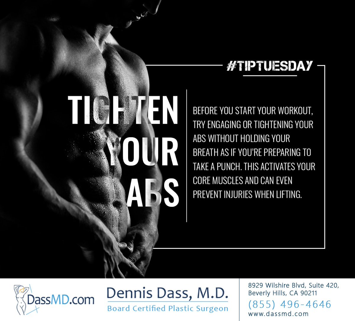 Try this tip out before your next workout and see if you notice any improvement. Let us know in the comments if it works for you! #Tiptuesday #stayinshape #beverlyhills #CA #dennisdassmd