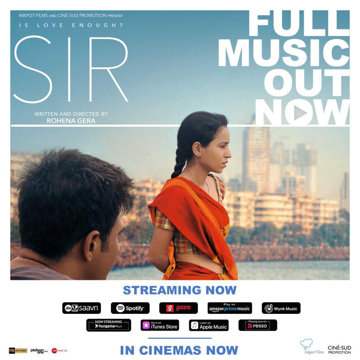 The full audio/ music of #SIRTheFilm is out now on @JioSaavn @Spotify @gaana @amazonmusic @WynkMusic @AppleMusic @iTunes etc.  Music: Ragav Vagav Lyricist: Mohit Chauhan @Mean_Wile Singers: Suvarna Tiwari, Nakash Aziz Recording/Mix Engr: Anish Gohil  Music on @ZeeMusicCompany
