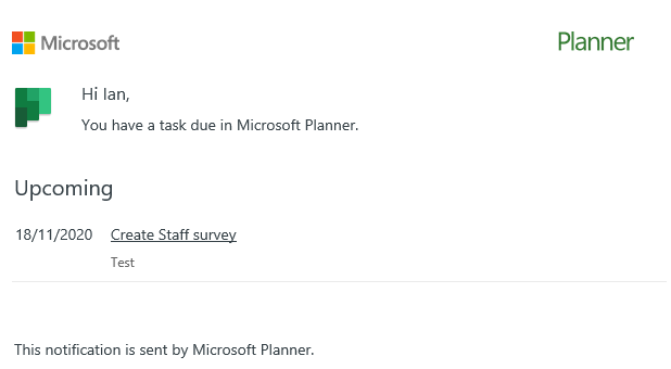Love that that #MSPlanner sends out email reminders #MIEExpert #MicrosoftEDU