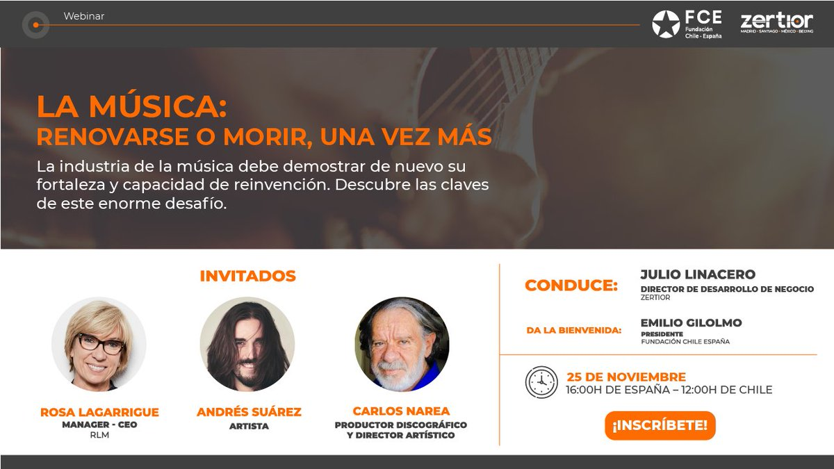 📌 Miércoles 25 de noviembre  ⌚️ 🇪🇸 16:00 🇨🇱 12:00  👉 Nuevo #webinar junto a la @FundChileEspana, en el que se analizará cómo la industria de la #Musica debe demostrar de nuevo su fortaleza y capacidad de reinvención  ✏️ ¡Inscríbete ya! 📎