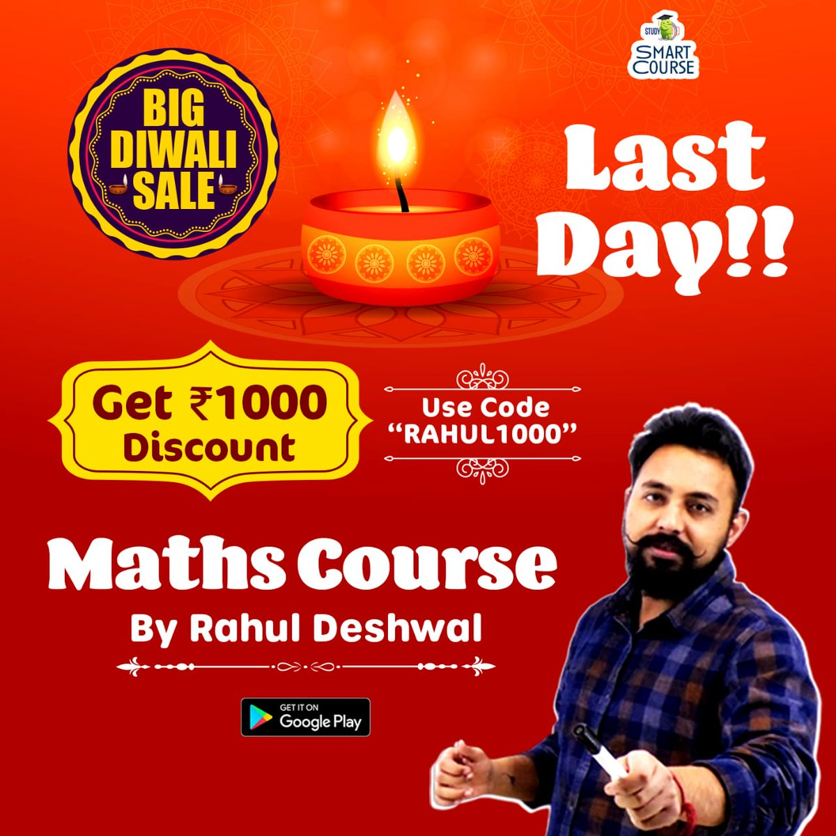 "#BigDiwaliSale! #Maths Smart Course by Rahul Deshwal with various smart features and also get Flat Rs1000 discount, use code ""RAHUL1000"", offer valid for TODAY only. To know more, Download StudyIQ APP:"