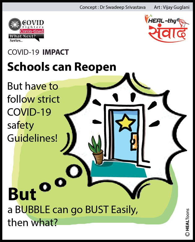Reopening of schools is very much required to get the academic rail back on track with strict COVID-19 safety guidelines. Get in safe schooling!  Join us:    #covidfighters #healthysamvaad #healhealth #unitetofightcorona