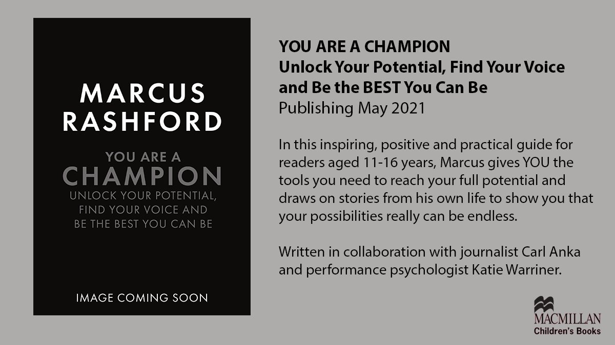 In May 2021 we will publish YOU ARE A CHAMPION: Unlock Your Potential, Find Your Voice and Be the BEST You Can Be by @MarcusRashford. This book will show young people aged 11-16 how to develop resilience, navigate adversity and discover the unstoppable power of their own voice