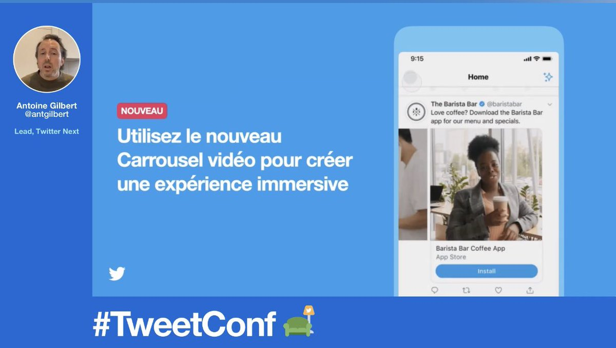 À cette occasion, @antgilbert a présenté le nouveau format carrousel vidéo lancé par #Twitter.  Son objectif : proposer une expérience plus immersive.  «Un bel écrin pour mettre en lumière ses produits de fin d'année.» #TweetConf @TwitterMktgFR @TwitterFrance