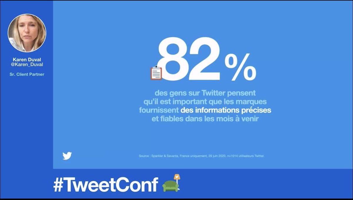 Comment communiquer en ce moment sur Twitter ? Il faut rassurer les utilisateurs !  (C'est important pour 82% d'entre eux). Les marques doivent donner des informations précises et fiables. @Karen_Duval @TwitterMktgFR #TweetConf #Confinement #Crise