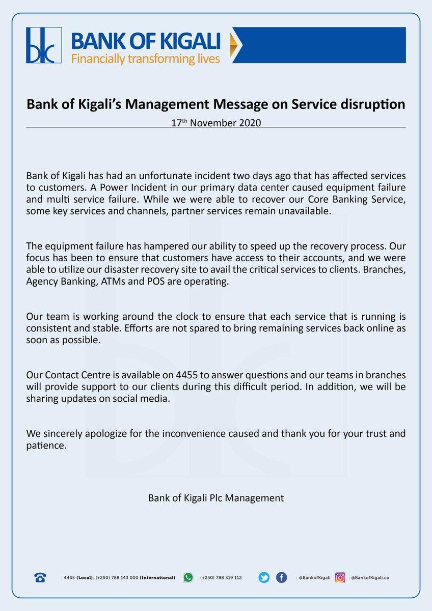 Bank of Kigali's Management message on service disruption / Ubutumwa bwa Banki ya Kigali burebana na zimwe muri serivisi zitari kuboneka. https://t.co/ffiqpIA6VD